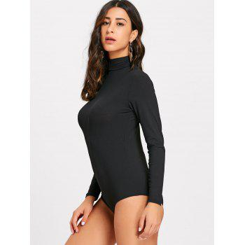 Ribbed Long Sleeve Mock Neck Bodysuit - BLACK S