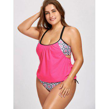 Cross Back Plus Size Printed Blouson Tankini - ROSE RED 3XL