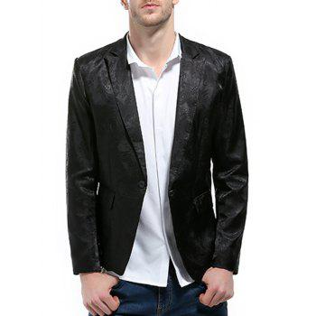 Florals Jacquard One Button Blazer - BLACK BLACK