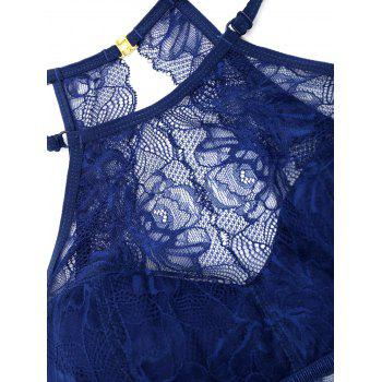 Lace Sheer High Neck Bra Set - DEEP BLUE 70B