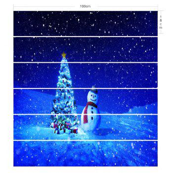 Snowy Night Christmas Tree Snowman Printed Decorative Stair Stickers - BLUE 100*18CM*6PCS