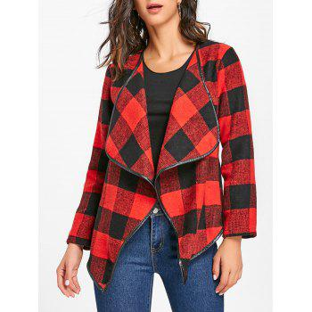 Plaid Turndown Collar Jacket - RED WITH BLACK RED/BLACK
