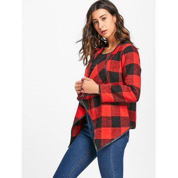 Plaid Turndown Collar Jacket - RED/BLACK XL