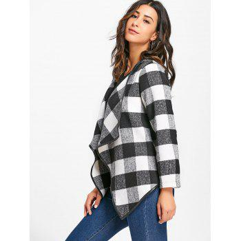 Plaid Turndown Collar Jacket - WHITE/BLACK XL