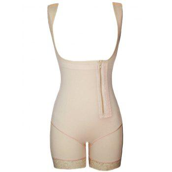 Lace Trim Zip Open Bust Shaping Bodysuit - COMPLEXION COMPLEXION