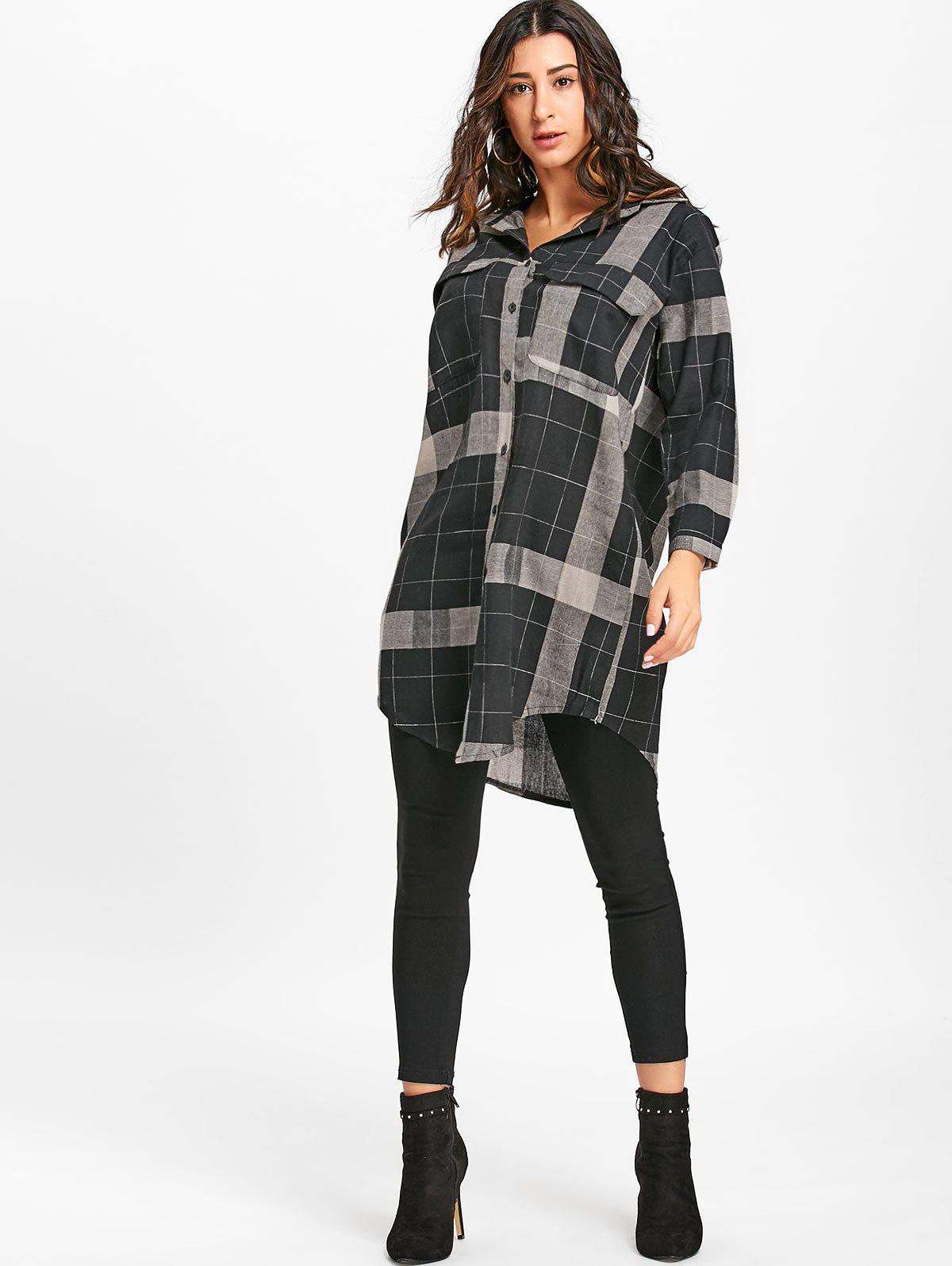 Long Sleeve Plaid Midi Shirt Dress - BLACK L