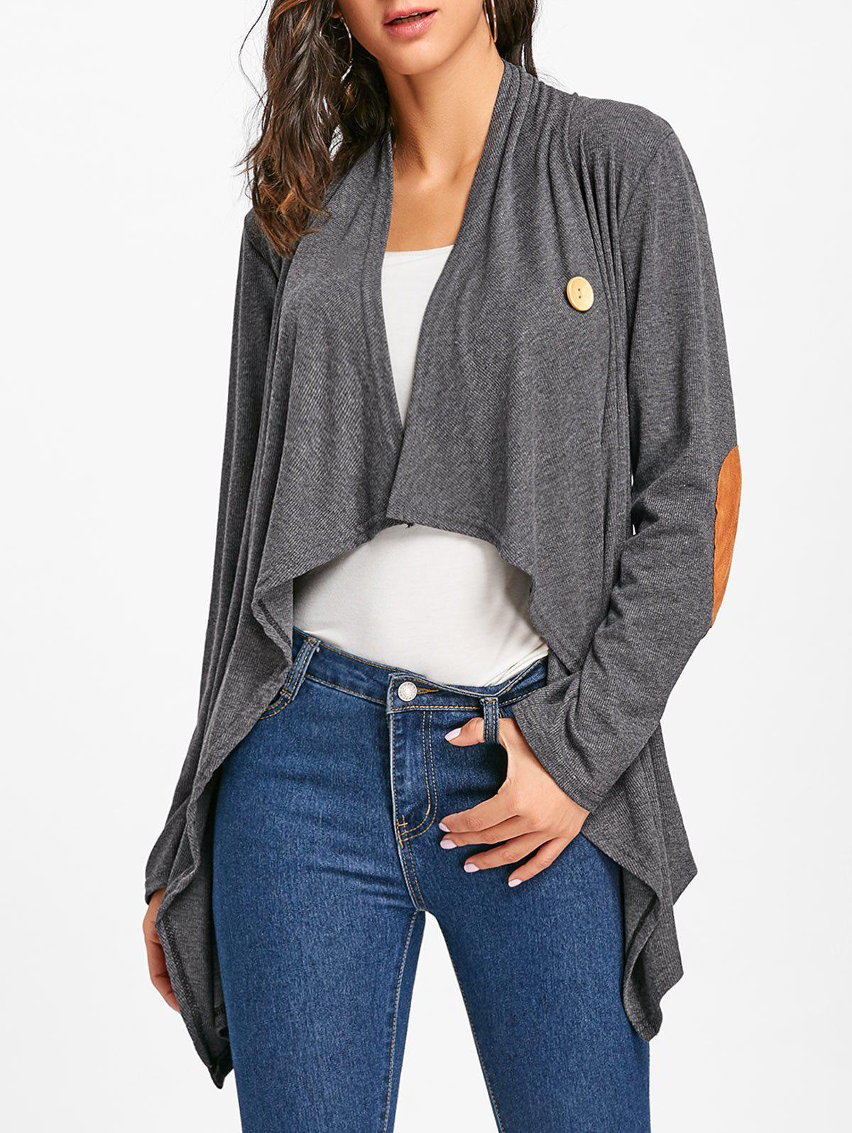 Asymmetric Elbow Patch Cardigan - GRAY L