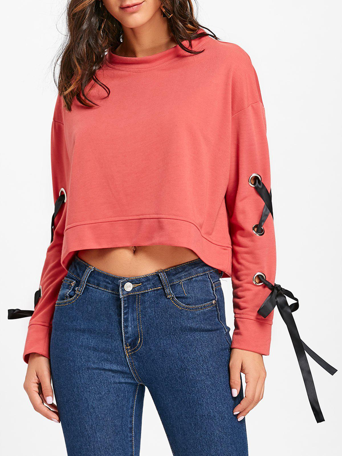 Lace-up Sleeve Crop Sweatshirt - RED S