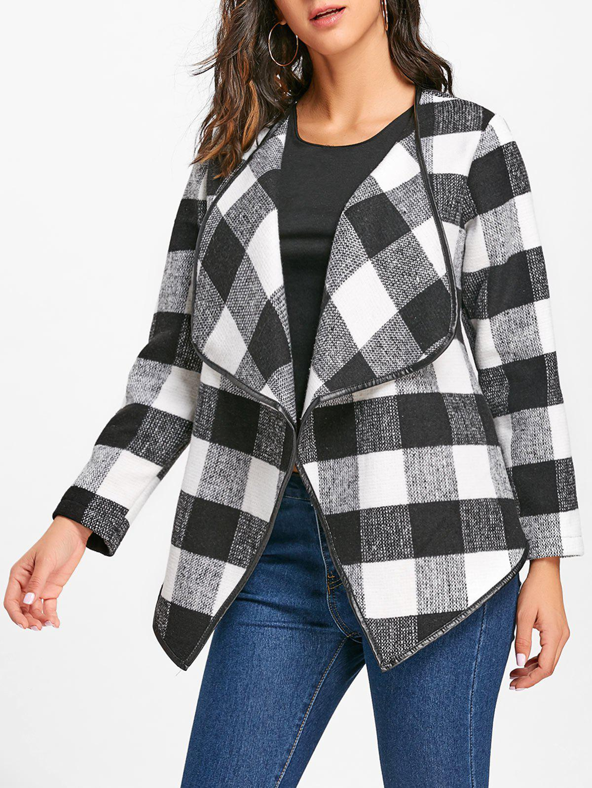 Plaid Turndown Collar Jacket - Blanc et Noir L