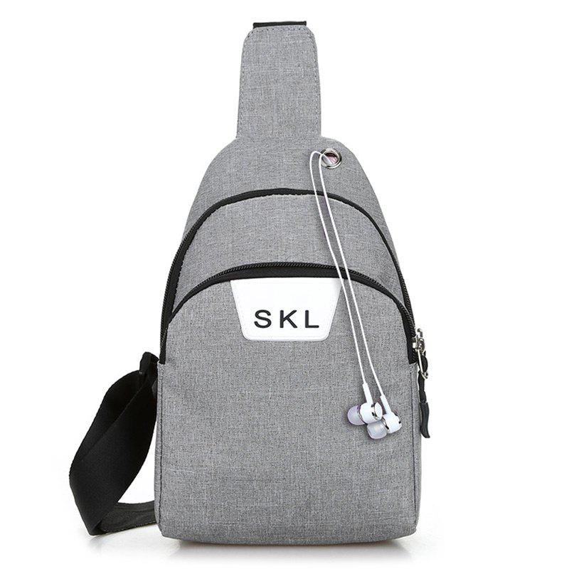 Headphone Hole Letter Print Chest Bag - LIGHT GRAY