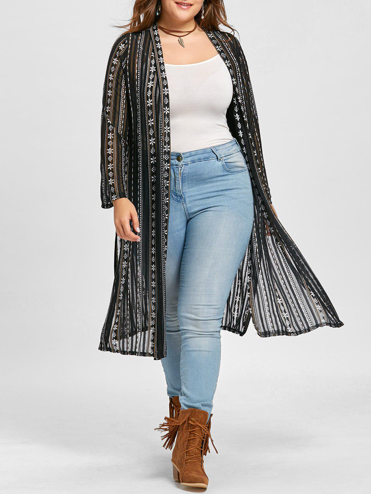 Floral Print Collarless Plus Size Coat - BLACK ONE SIZE