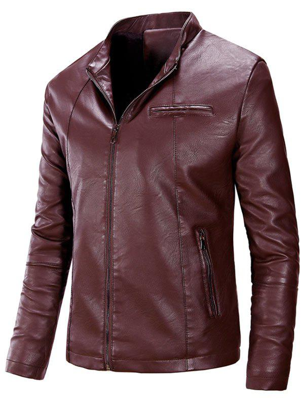Zipper Up Casual Flocking PU Leather Jacket - CLARET 2XL