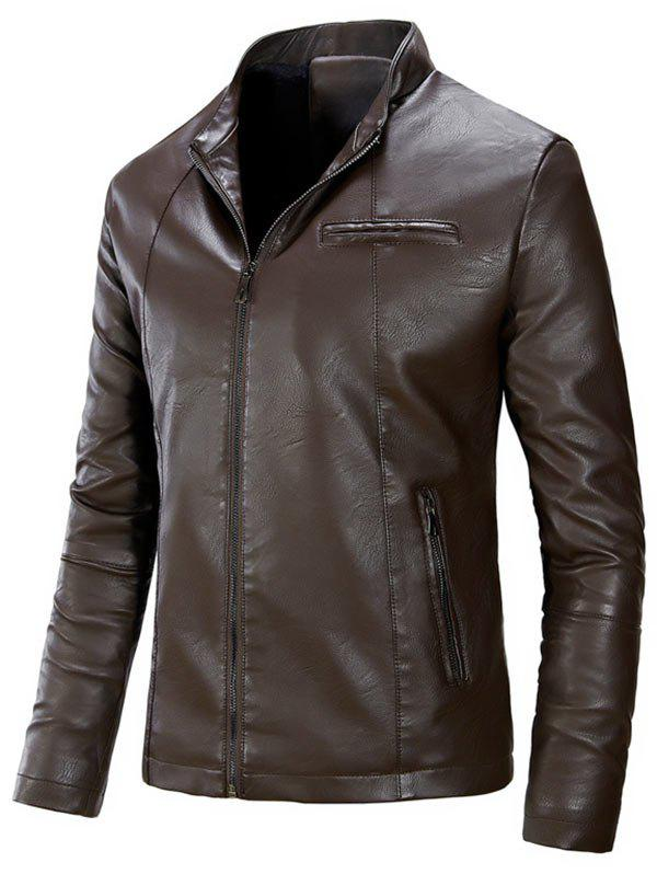 Zipper Up Casual Flocking PU Leather Jacket - DUN L