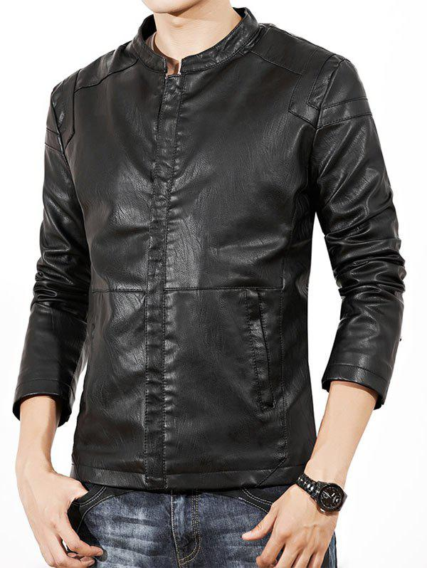 Zipper Pocket Faux Leather Flocking Jacket джемпер banana republic banana republic ba067emwuq45