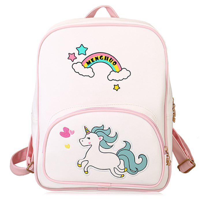 Rainbow Unicorn Color Block Backpack - WHITE