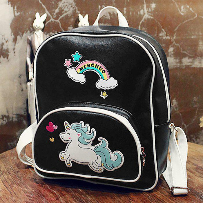 Rainbow Unicorn Color Block Backpack - BLACK