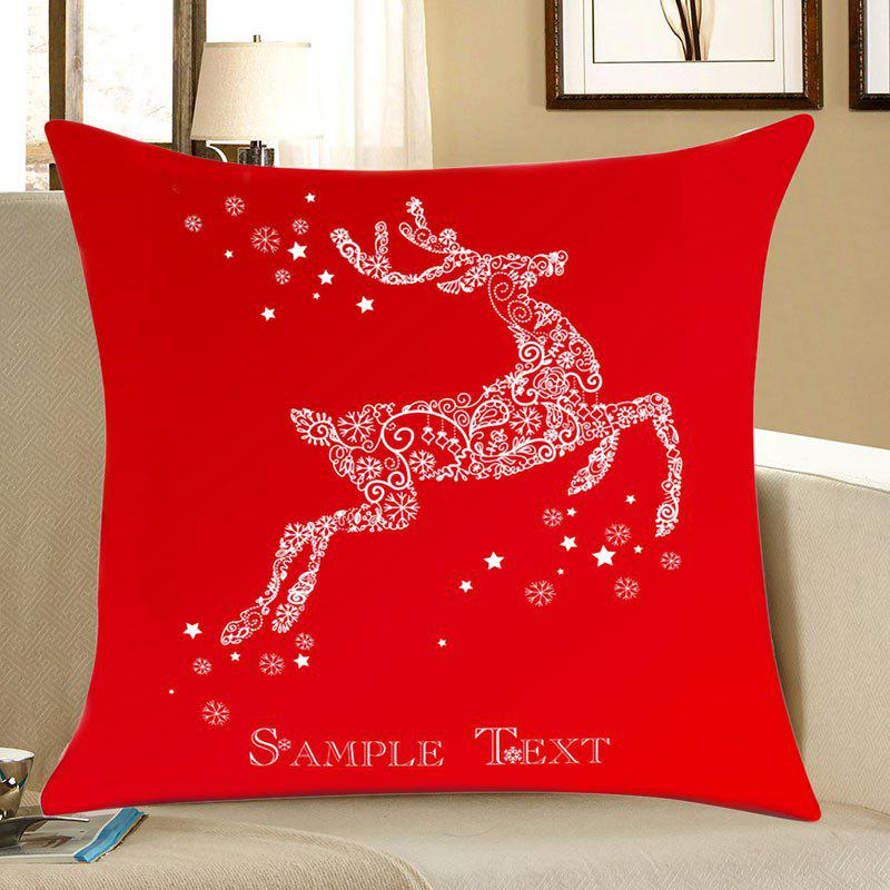 Christmas Snowflakes Deer Print Linen Sofa Pillowcase - RED W18 INCH * L18 INCH