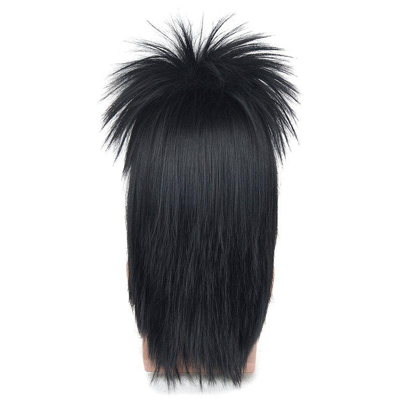 Long Side Bang Fluffy Straight Rocking Synthetic Cosplay Wig - BLACK