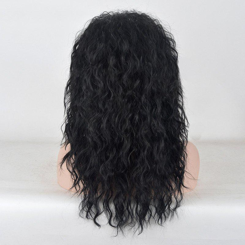 Long Center Parting Fluffy Water Wave Party Synthetic Wig - BLACK