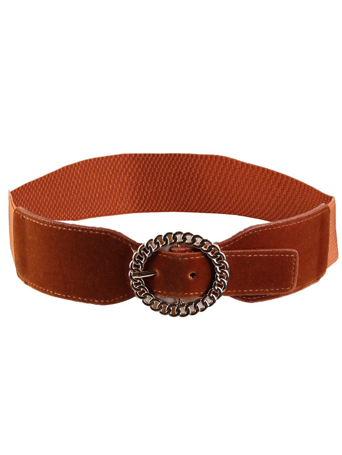 Hollow Out Round Shape Embellished Buckle Elastic Waist Belt - CHOCOLATE