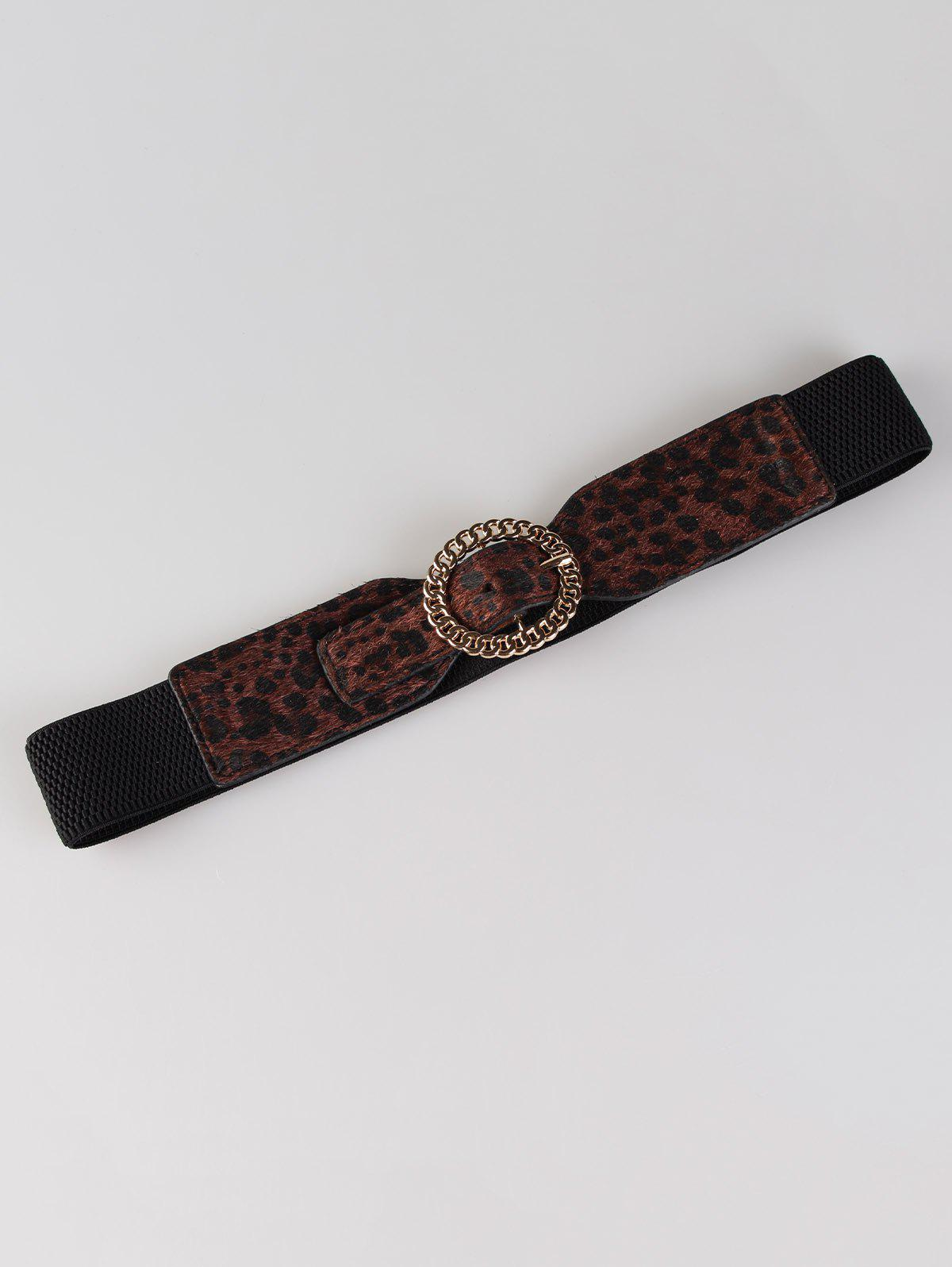 Hollow Out Round Shape Embellished Buckle Elastic Waist Belt - LEOPARD PRINT PATTERN