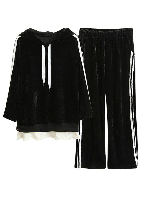 Striped Velvet Hoodie and Wide Leg Pants - BLACK S