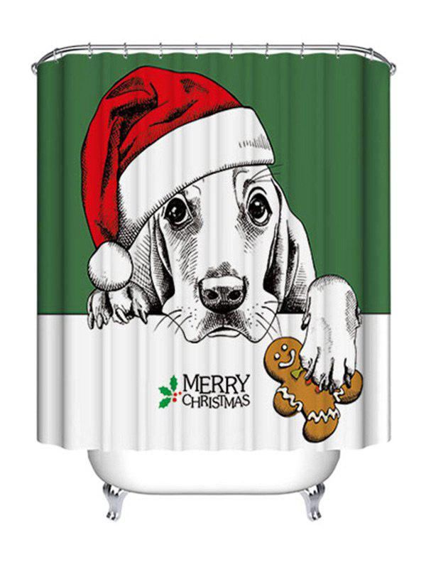 Christmas Dog Biscuit Print Waterproof Fabric Shower Curtain - COLORMIX W71 INCH * L71 INCH