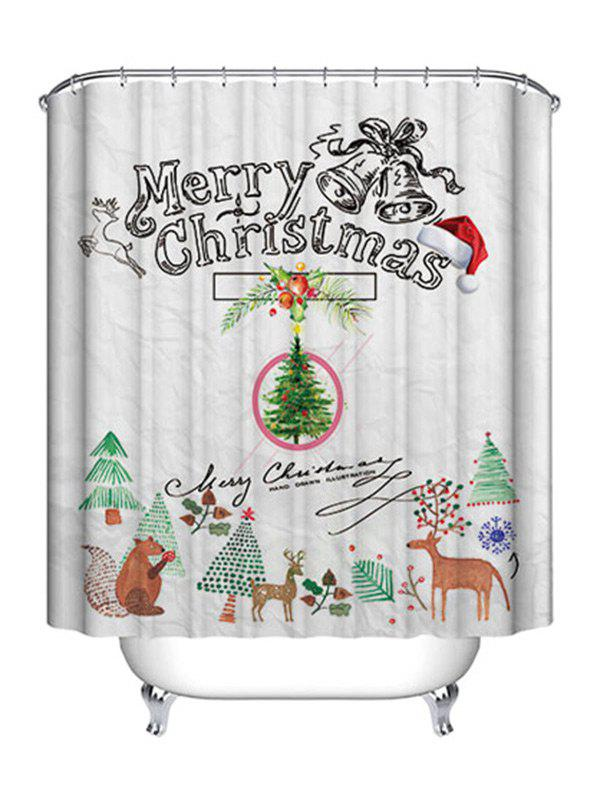 Christmas Cartoon Theme Print Waterproof Fabric Shower Curtain - COLORMIX W71 INCH * L71 INCH