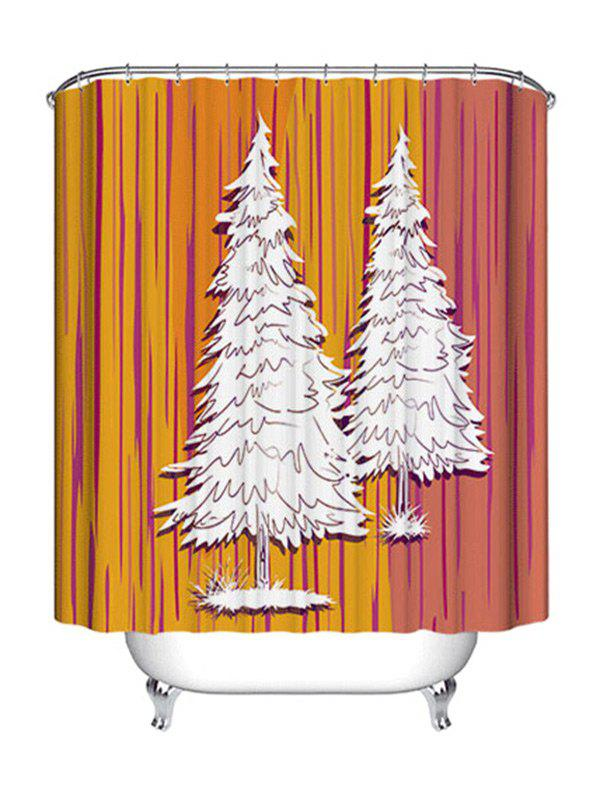 Christmas Pine Trees Print Waterproof Fabric Shower Curtain - COLORMIX W71 INCH * L71 INCH