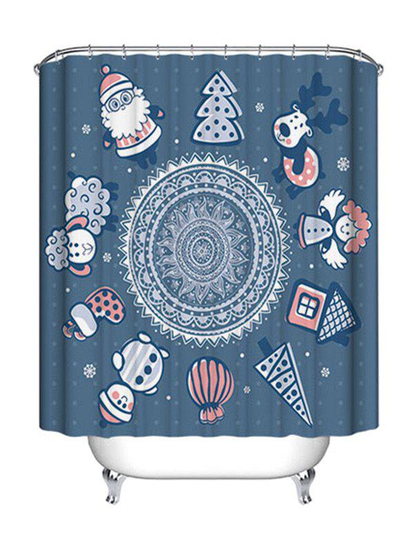 Christmas Cartoon Mandala Print Waterproof Fabric Shower Curtain - STONE BLUE W71 INCH * L79 INCH