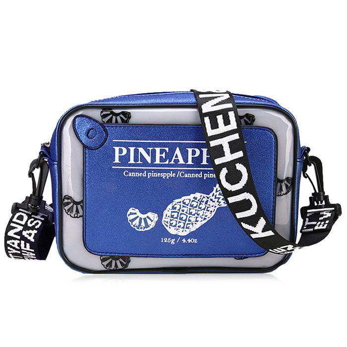 Letter Color Block Print Crossbody Bag - BLUE