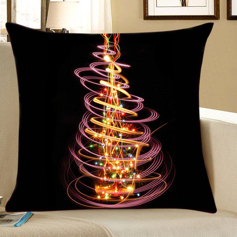 Christmas Light Tree Print Linen Sofa Pillowcase - COLORFUL W18 INCH * L18 INCH