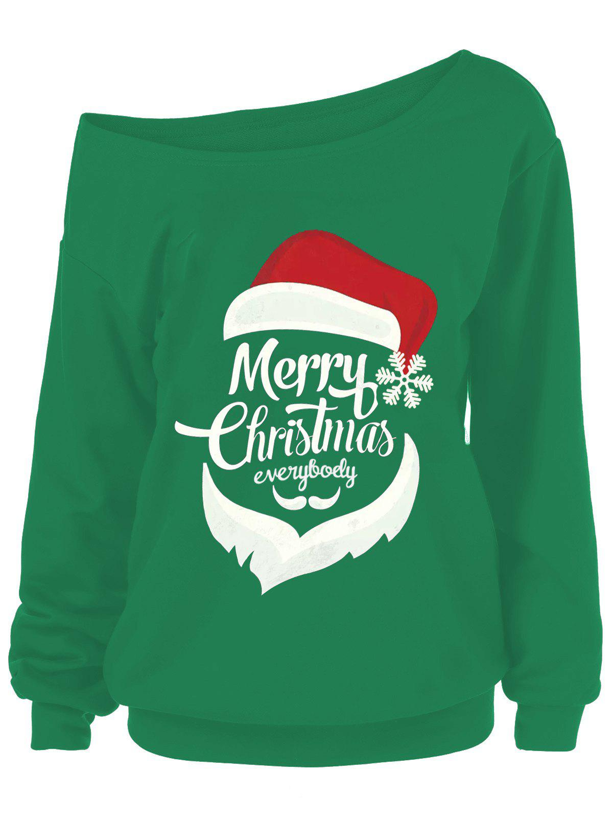 Sweat-shirt Grande Taille Merry Christmas et Père Noël - GREEN 2XL