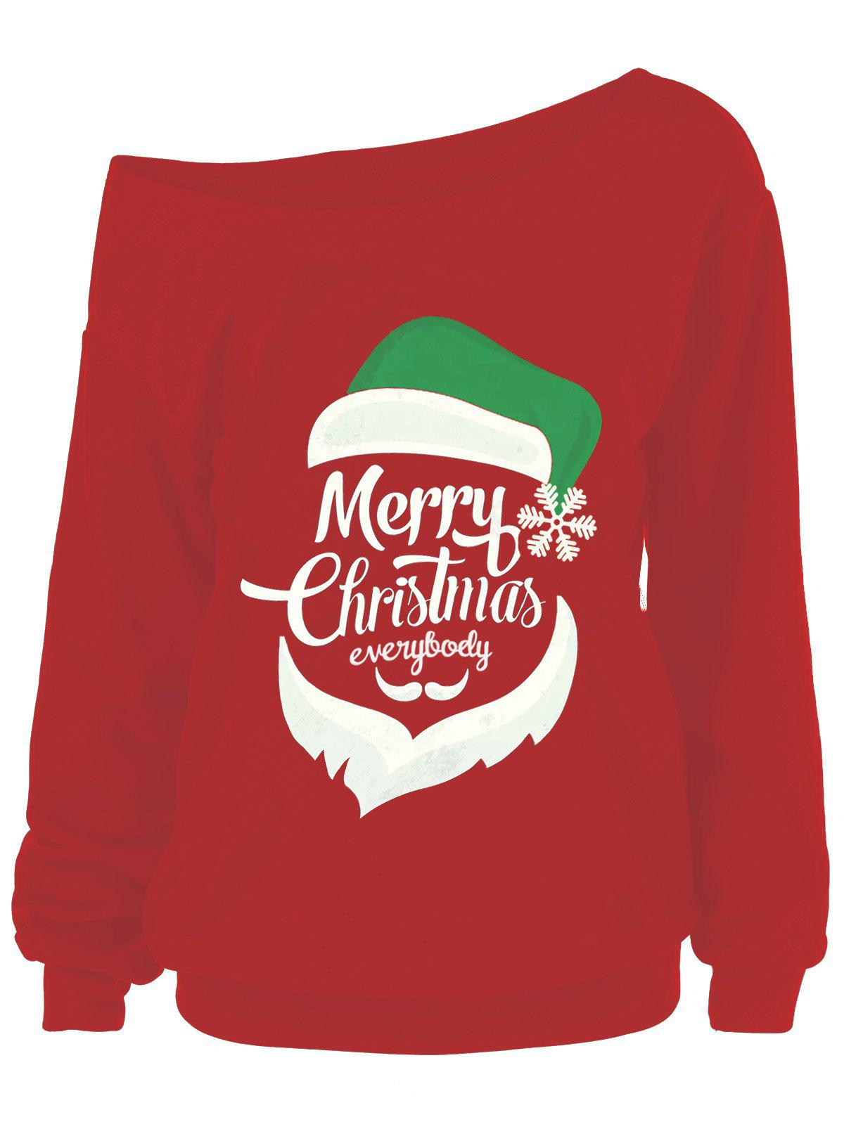 Sweat-shirt Grande Taille Merry Christmas et Père Noël - Rouge 4XL