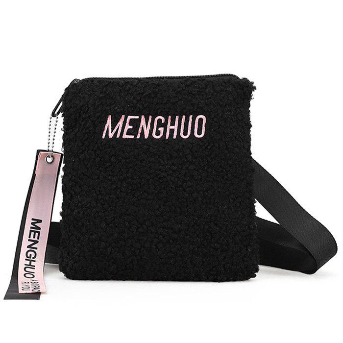 Letter Embroidery Faux Fur Crossbody Bag - BLACK