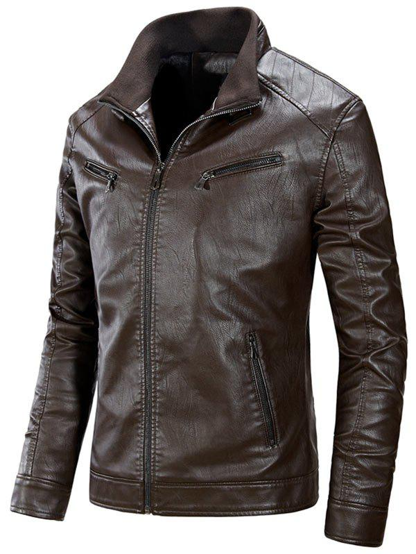 Zipper Up Flocking PU Leather Jacket - COFFEE 3XL