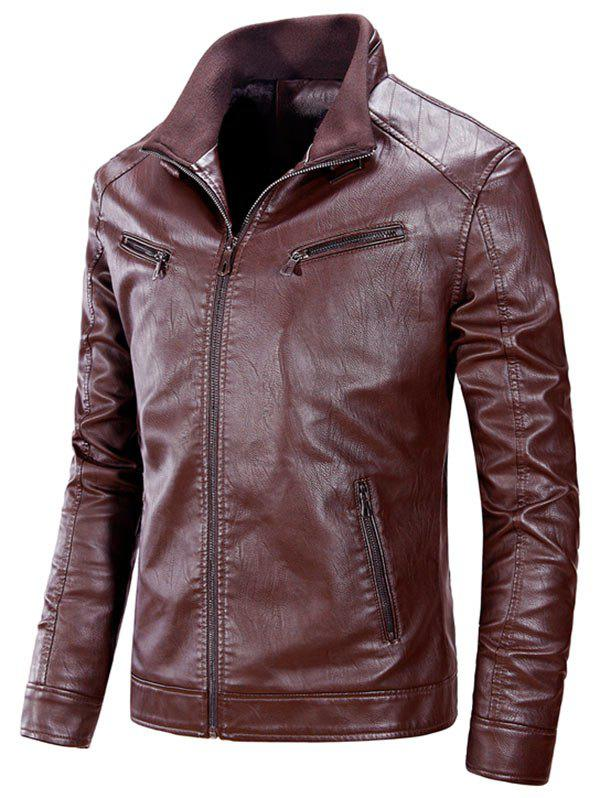 Zipper Up Flocking PU Leather Jacket - CLARET XL