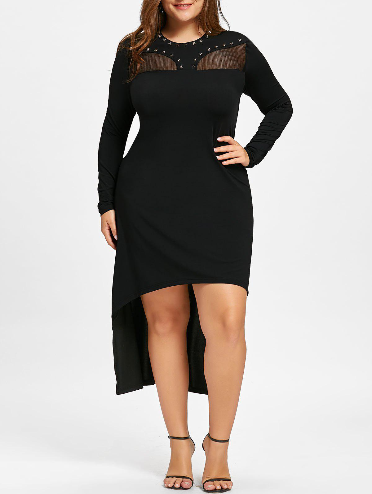 Plus Size Mesh Insert Dip Hem Dress plus size embroidered mesh insert party dress