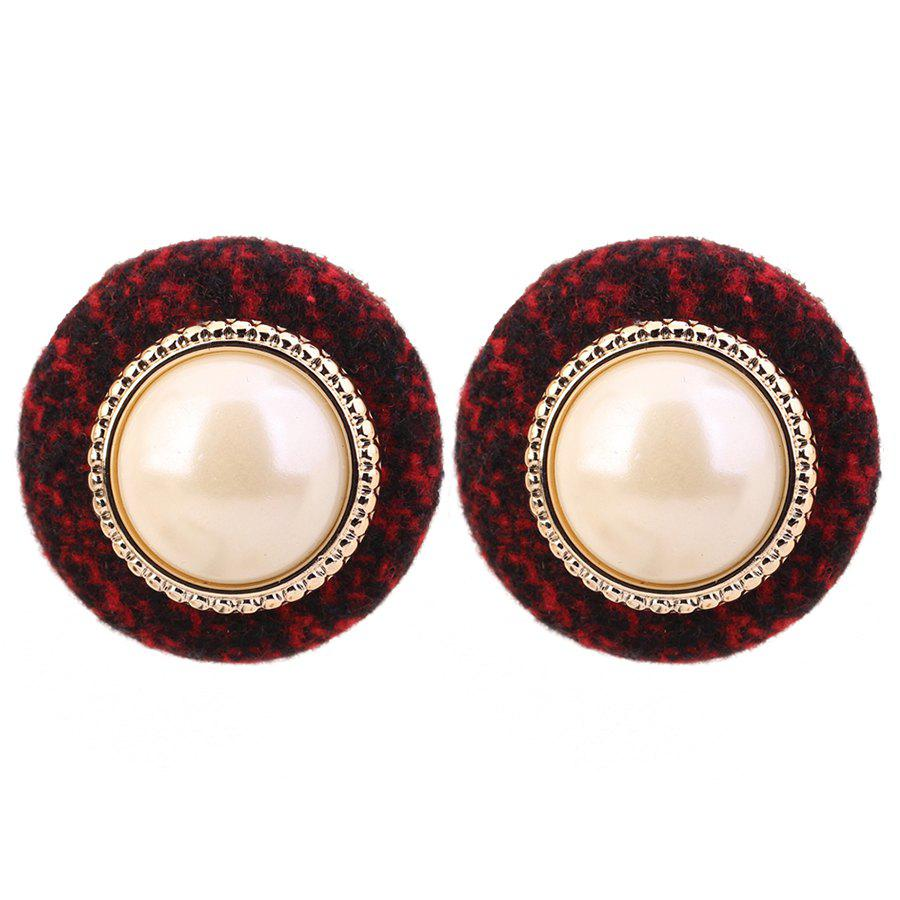 Round Shape Faux Pearl Stud Earrings - RED