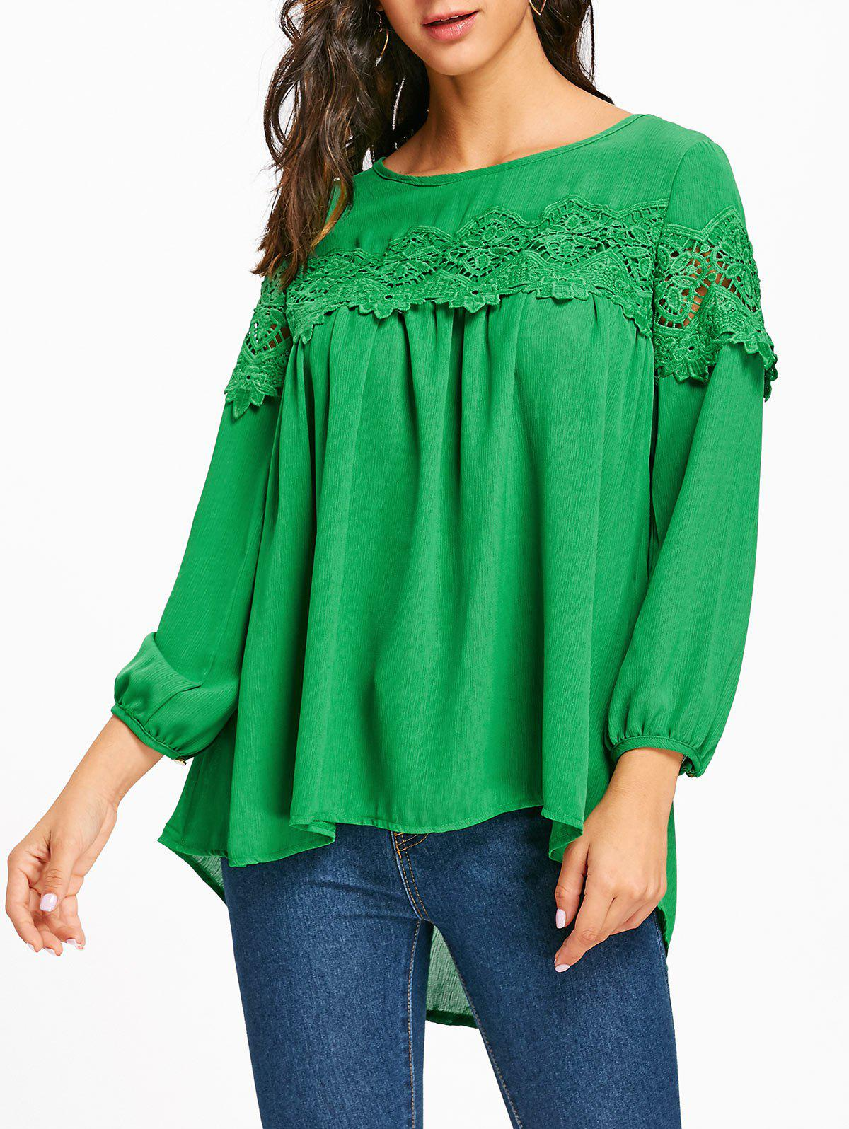Crochet Lace Insert High Low Blouse - GREEN L