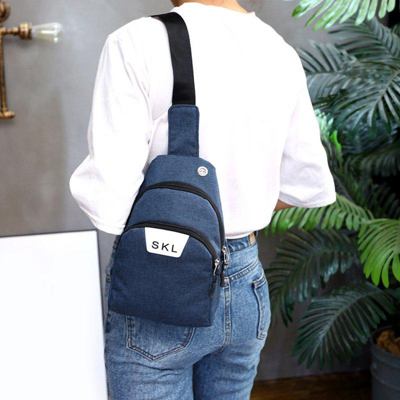 Headphone Hole Letter Print Chest Bag - BLUE