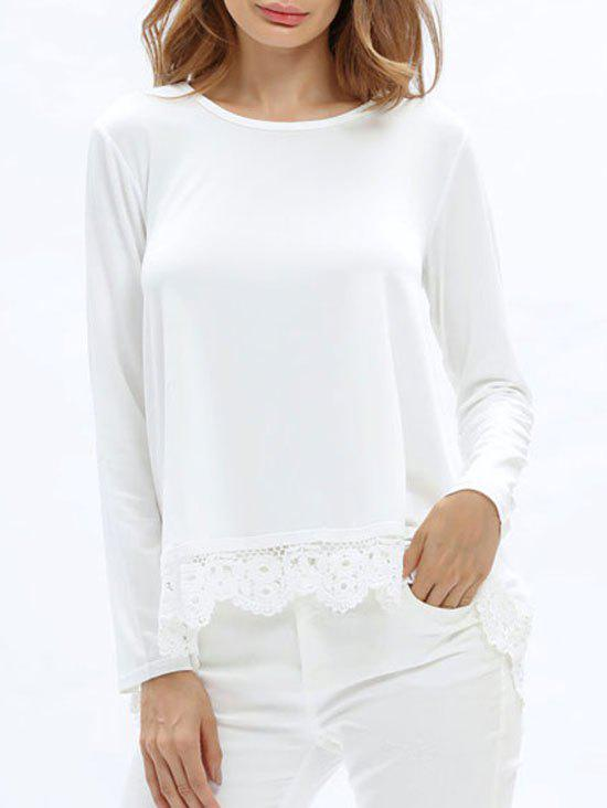 High Low Lace Insert Tunic T-shirt