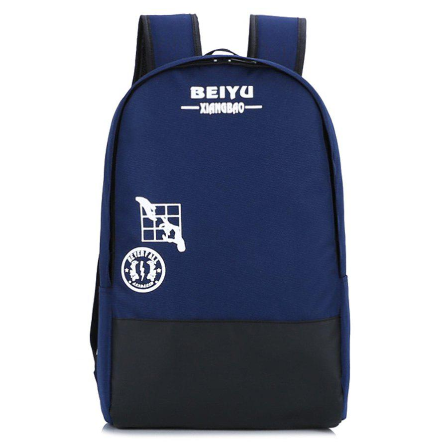 Color Block Print Letter Backpack - DEEP BLUE
