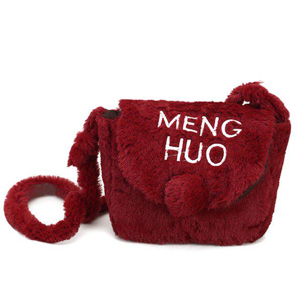 Pompom Faux Fur Letter Crossbody Bag - RED