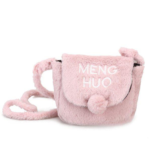 Pompom Faux Fur Letter Crossbody Bag - PINK