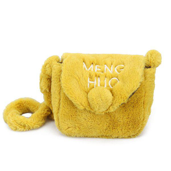 Pompom Faux Fur Letter Crossbody Bag - YELLOW