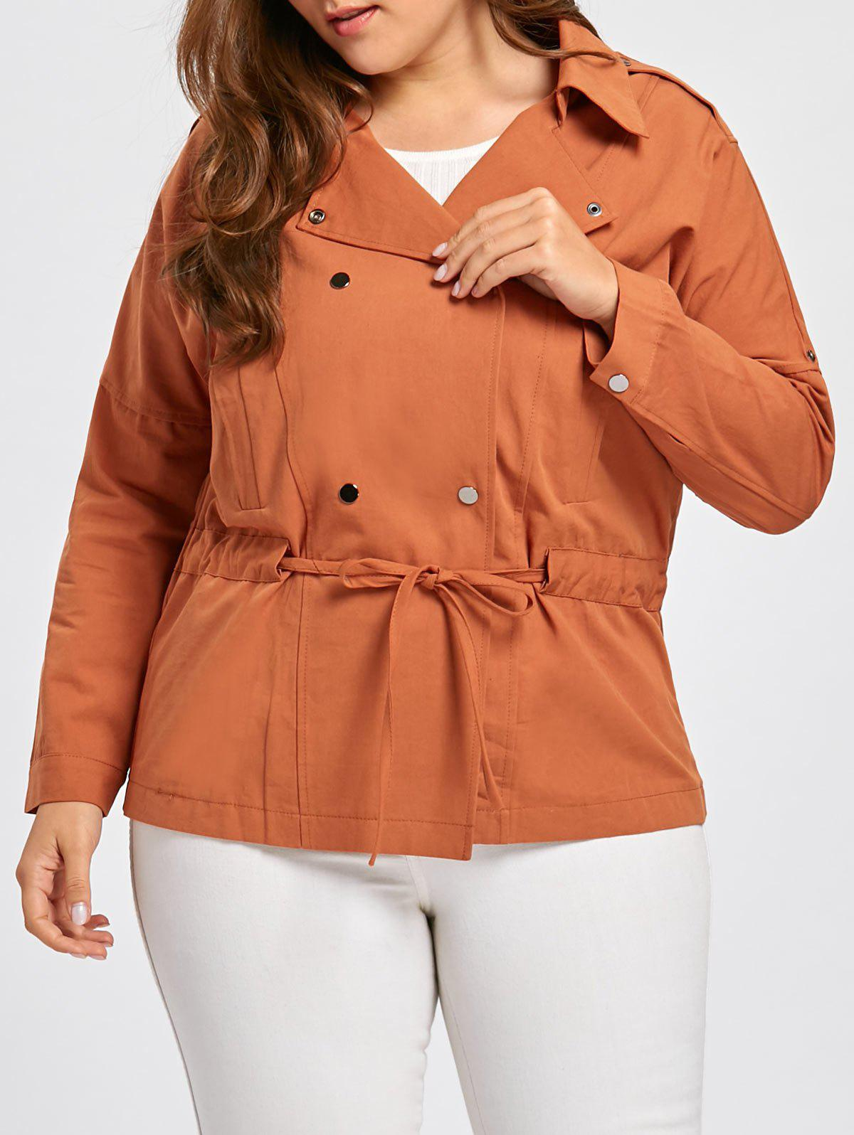 Plus Size Drawstring Double Breasted  Peplum Jacket - APRICOT 3XL