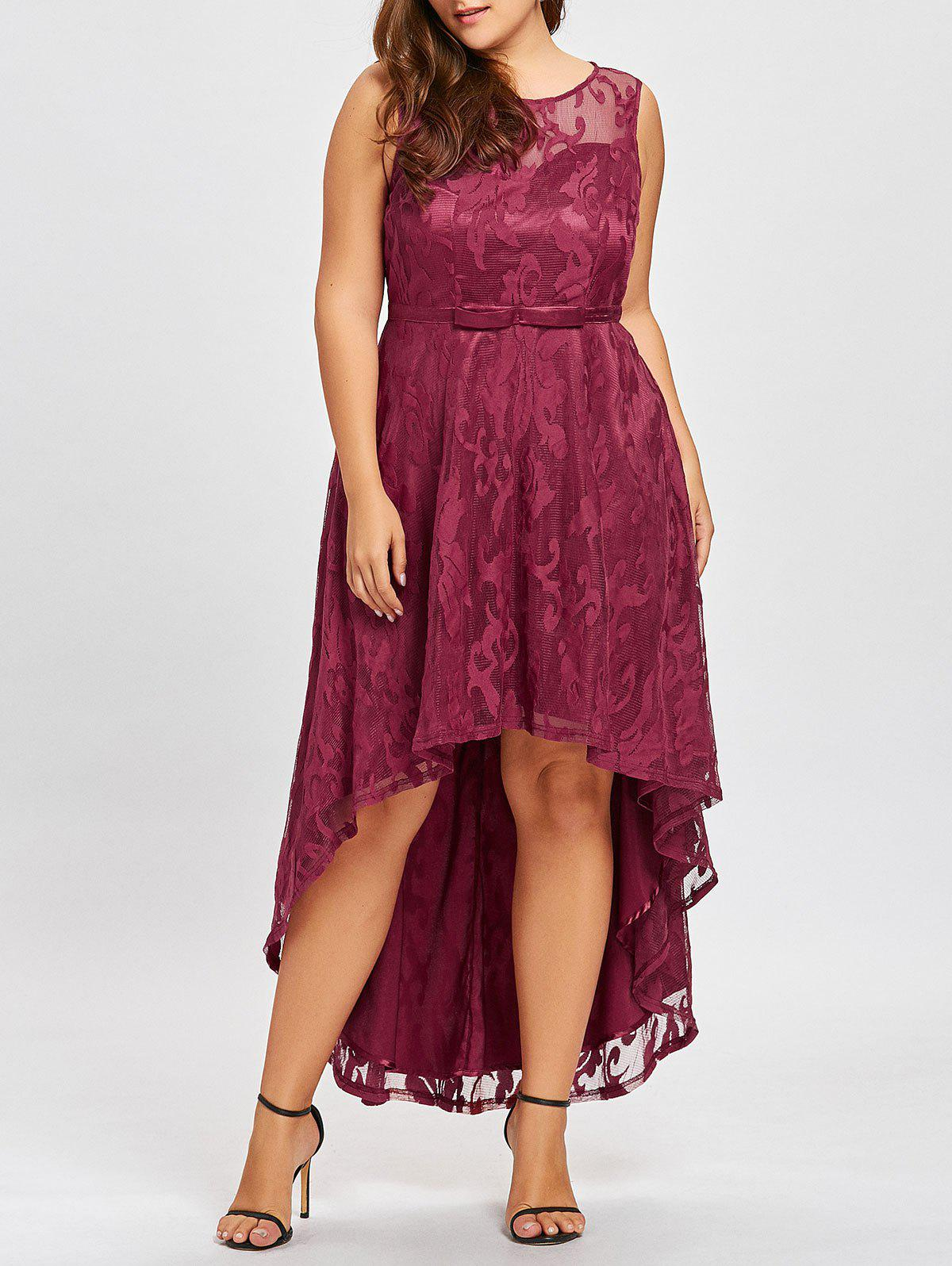 Plus Size Lace High Low Evening Dress - WINE RED 3XL
