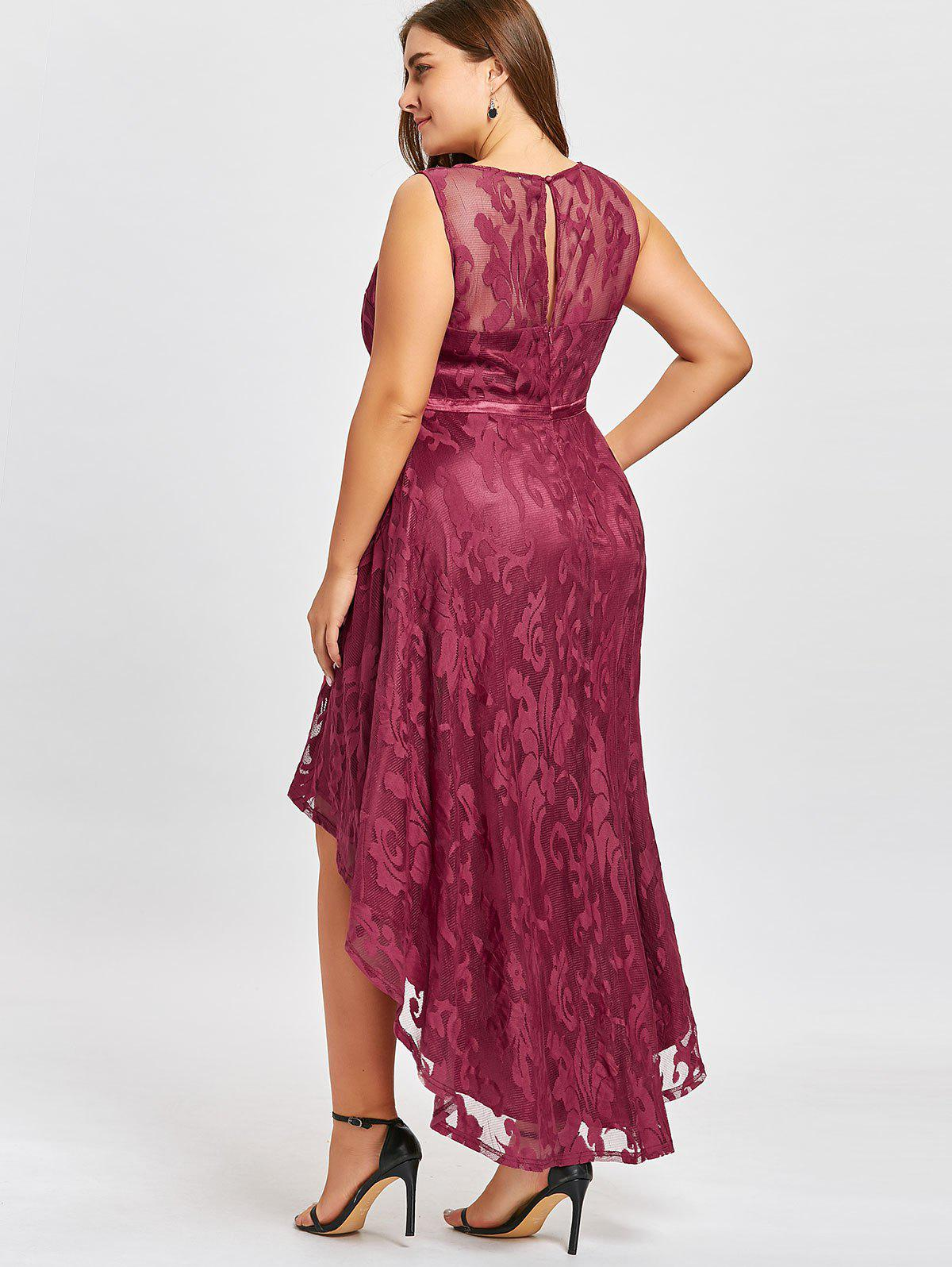 Plus Size Lace High Low Evening Dress - WINE RED 5XL
