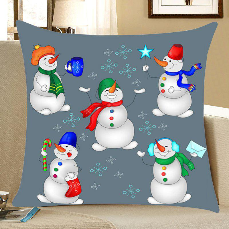 Christmas Snowmen Party Print Linen Sofa Pillowcase - COLORFUL W18 INCH * L18 INCH